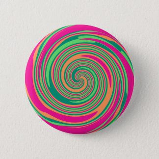 Coral Hot Pink Green Whirlpool Swirl Lollipop Desi 2 Inch Round Button