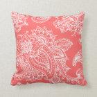 Coral Illustrated Bohemian Paisley Henna Throw Pillow