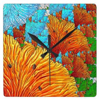 Coral Illustration Square Wall Clock