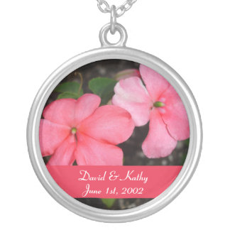 Coral Impatiens Flower Necklace