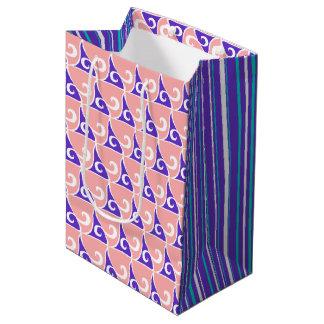 Coral & Indigo Fin Pattern & Stripe Gift Bag