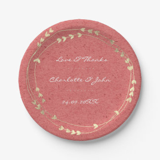 Coral Kraft Foxier Gold Wreath Heart Pastel Paper Plate