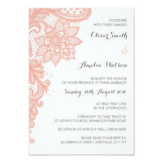Coral Lace Wedding Invitation