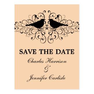 Coral Love Bird Swirls Save the Date Postcard