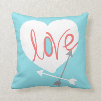 Coral Love Heart Arrows Throw Pillow Cushion