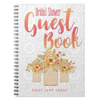 Coral Mason Jar Floral Bridal Shower Guest Book