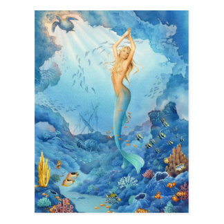 """Coral"", Mermaid, Dolphins, Fish and Shipwreck Postcard"
