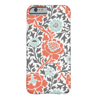 Coral Mint and Gray Retro Floral Damask Barely There iPhone 6 Case