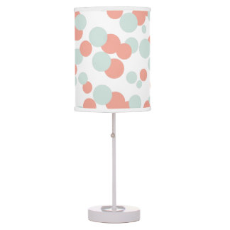 Coral & Mint Bubbles Confetti Pattern Table Lamp