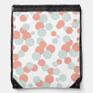 Coral & Mint Bubbles Pattern Drawstring Bag