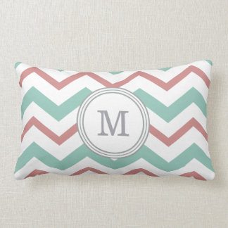 Coral & Mint Chevron Lumbar Pillow