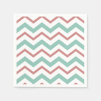 Coral & Mint Chevron Napkins