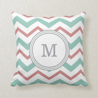 Coral & Mint Chevron Throw Pillow