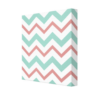 Coral & Mint Chevron Wrapped Canvas