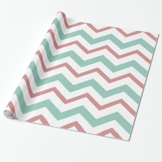Coral & Mint Chevron Wrapping Paper