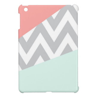 Coral & Mint Color Block Chevron Cover For The iPad Mini