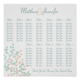 Coral & Mint Green Wedding Reception Seating Chart Poster