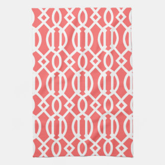 Coral Modern Trellis Pattern Kitchen Towel