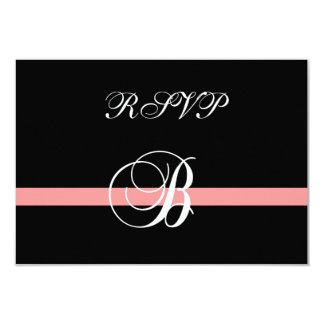 Coral Monogram B Wedding RSVP Card