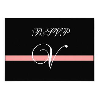 Coral Monogram V Wedding RSVP Card