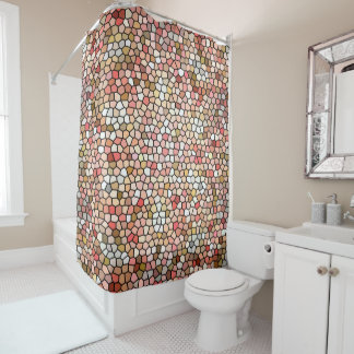 Coral Mosaic Beads 5050 shower curtain