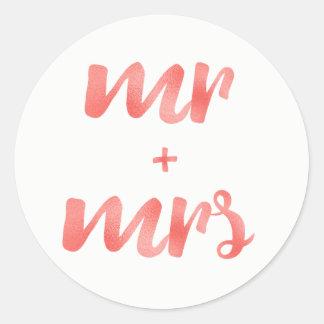 Coral Mr. & Mrs. stickers, round Classic Round Sticker