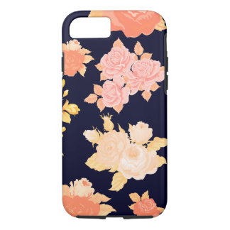 Coral & Mustard Roses on Navy - Iphone Case