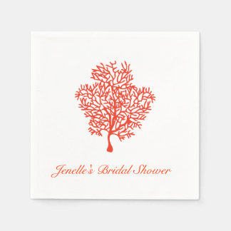 Coral Nautical Bridal Wedding Napkin Disposable Napkin