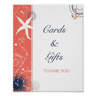 Coral Navy Beach Wedding Cards & Gifts Sign