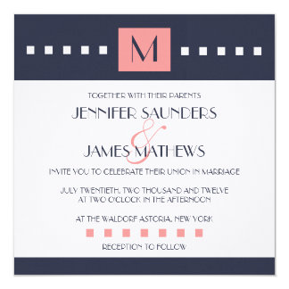 Coral Navy Blue Monogram Wedding Invitations