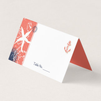 Coral & Navy Blue Nautical Wedding Place Card