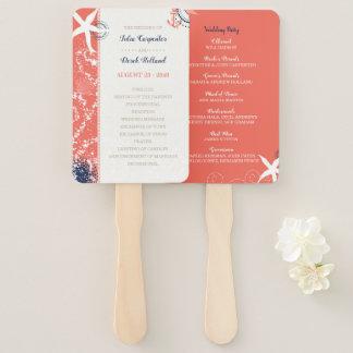 Coral & Navy Nautical Beach Wedding Program Hand Fan