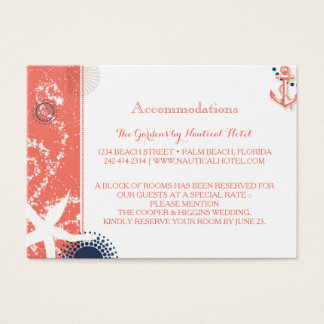 Coral & Navy Nautical Wedding Accommodations Business Card