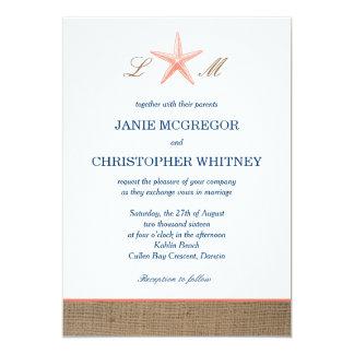 Coral & Navy Starfish Burlap Beach Wedding Invites