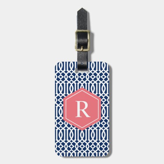 Coral & Navy Trellis | Luggage Tag