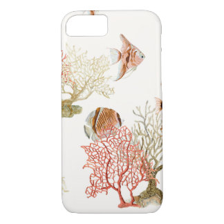 Coral Ocean Beach Angel Fish Watercolor Striped iPhone 7 Case