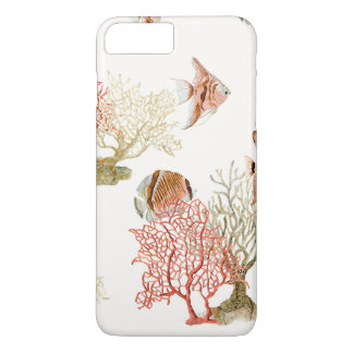 Coral Ocean Beach Angel Fish Watercolor Striped iPhone 7 Plus Case