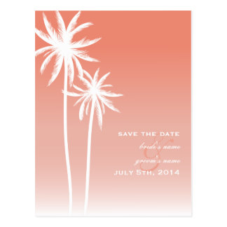 Coral Ombré Beach Wedding Save The Date Postcard