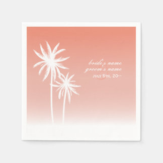 Coral Ombré Palm Trees Beach Wedding Napkins Paper Napkins