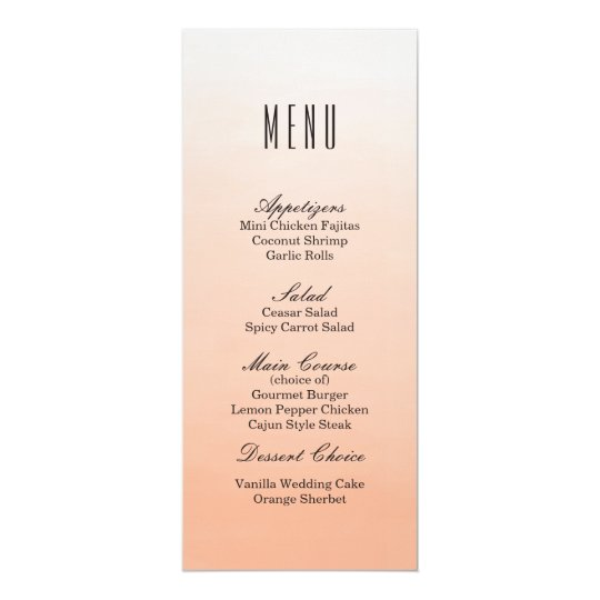Coral Ombre | Wedding Dinner Menu Card