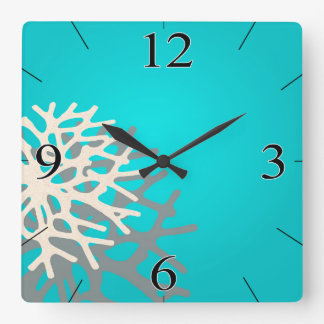 Coral on the Beach | blue grey ivory Square Wall Clock
