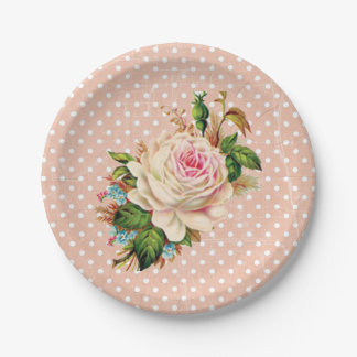 Coral or Peach Baby Shower or Wedding Rose Vintage 7 Inch Paper Plate