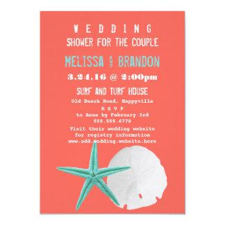 "Coral Orange and Blue Beach Shells Wedding Shower 5"" X 7"" Invitation Card"