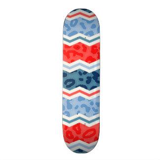 Coral Orange and Light Blue Leopard Print Skate Deck
