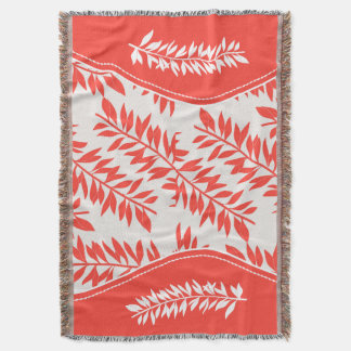 Coral Orange and White in Bold Leafy Stems Throw Blanket