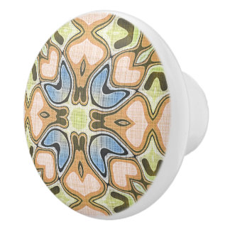 Coral Orange Blue Lime Green Hip Ornate Art Motif Ceramic Knob