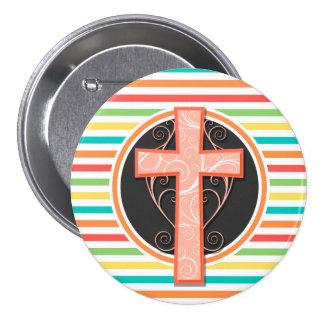 Coral Orange Cross Bright Rainbow Stripes Pinback Buttons