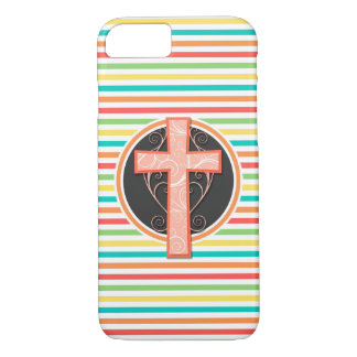 Coral Orange Cross; Bright Rainbow Stripes iPhone 8/7 Case