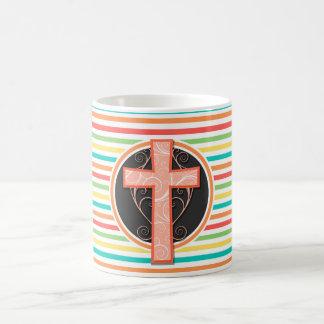 Coral Orange Cross; Bright Rainbow Stripes Coffee Mugs