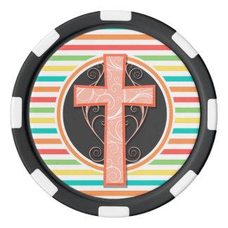 Coral Orange Cross; Bright Rainbow Stripes Poker Chips Set